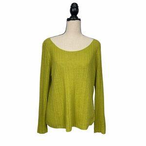 Eileen Fisher Organic Linen Ribbed Knit Top Sz Lg